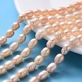 FASHEWELRY 5 Strands Cultured Freshwater Pearl Beads Strands 7-8mm Dia Oval Pearl Loose Beads for DIY Jewelry Making (PeachPuff)