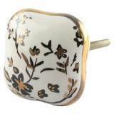 Mascot Hardware Ceramic Square 1-4/7 In. White & Gold Cabinet Knob (Pack Of 10) Ceramic in Black/Brown/White, Size 1.57 H x 1.57 W x 1.34 D in