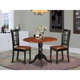 Rosalind Wheeler Dolores 3 - Piece Drop Leaf Rubberwood Solid Wood Dining Set Wood/Upholstered Chairs in Black/Brown, Size 29.5 H in   Wayfair