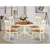 Rosalind Wheeler Eawood 5 - Piece Rubberwood Solid Wood Dining Set Wood in Brown/White, Size 29.5 H in | Wayfair 942DA7A7384F4FD389715A08300D48D7
