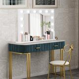 Latitude Run® White Makeup Vanity Mirror w/ Light Stage Large Beauty Mirror DimmerWood in Brown/White, Size 20.6 H x 31.5 W x 7.9 D in   Wayfair