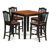 Rosalind Wheeler Bedfo 5 - Piece Counter Height Rubberwood Solid Wood Dining SetWood/Upholstered Chairs in Black/Brown   Wayfair