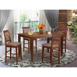 Rosalind Wheeler Elginpark 5 - Piece Counter Height Rubberwood Solid Wood Dining Set Wood/Upholstered Chairs in Brown, Size 36.0 H in | Wayfair
