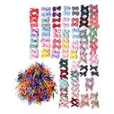 100Pcs Baby Girl Ribbon Bow Hair Clips, With 1000 Candy Color Disposable Rubber Bands, Cute Girl Hair Accessories, Baby Girl Crocodile Tooth Hair Clips, Suitable For Baby Girls, Teenagers, Toddlers