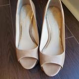 Jessica Simpson Shoes | Jessica Simpson Platform Peep Toe Wedge | Color: Cream | Size: 8