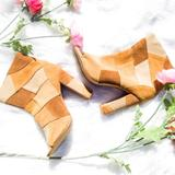 Torrid Shoes | Nwt Torrid Suede Neutral Patchwork Peep Toe Boots | Color: Brown/Tan | Size: 8.5