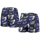 """Men's FOCO Purple/Black Baltimore Ravens Geo Print Swim Trunks"""