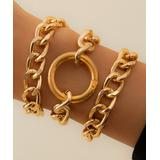 Don't AsK Women's Bracelets Gold - Goldtone Curb Chain & Open Circle Bracelet Set