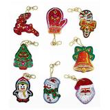 HC Craft Kits Multi-color - Red Multicolor Winter Icons Rhinestone Painting Key Chain Kit - Set of Eight