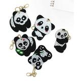 HC Craft Kits Multi-color - Black & White Panda Rhinestone Painting Key Chain Kit - Set of Five