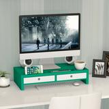 Inbox Zero Furst Monitor Stand Bamboo in Green, Size 22.0 H x 10.6 W x 4.7 D in   Wayfair 9713FCBB055045218678F43F43EE3099