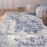 Williston Forge Koffler Oriental Ivory/Blue Rug Polypropylene in Blue/Brown/White, Size 138.0 H x 102.0 W x 0.38 D in | Wayfair