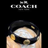 Coach Jewelry | Coach Black & Gold Snaphead Logo Bangle Bracelet | Color: Black/Gold | Size: Os