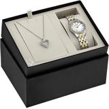 Crystal Accent Two-tone Bracelet Watch & Heart Pendant Necklace Set - Metallic - Bulova Necklaces