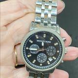 Michael Kors Accessories | Michael Kors Black Dial Chronograph Watch Diamonds | Color: Black/Silver | Size: Os