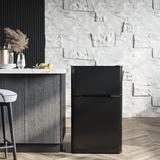 Victorim 3.2 Cubic Feet cu. ft. Freestanding Mini Fridge w/ Freezer Stainless Steel in Black, Size 33.05 H x 19.4 W x 19.9 D in | Wayfair RF-H-W3