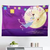 East Urban Home Ambesonne East Tapestry, Chinese Woman Flying On Ocean w/ Lanterns & Full Moon Cartoon in White/Black/Indigo | Wayfair