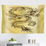 East Urban Home Ambesonne Dragon Tapestry, Chinese Snake Dragon Theme Background Eastern Oriental Abstract Art Graphic in White/Black/Brown | Wayfair