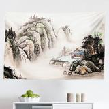 East Urban Home Ambesonne Vintage China Tapestry, Chinese Landscape Of Watercolor Painting Marquee In Valley Trees Sumi Style in Gray/White/Black