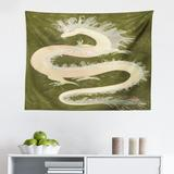 East Urban Home Ambesonne Dragon Tapestry, Chinese Reptile Dragon Eastern Culture Medieval Themed Grunge Style Pattern in Green/White | Wayfair