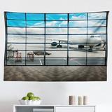 East Urban Home Ambesonne Modern Tapestry, China Shangai Airport w/ Big Jet Plane Wanderlust Traveller Photograph in Gray/Black | Wayfair