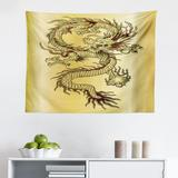 East Urban Home Ambesonne Dragon Tapestry, Chinese Snake Dragon Theme Background Eastern Oriental Abstract Art Graphic in White/Brown | Wayfair