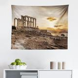 East Urban Home Ambesonne Pillar Tapestry, Greek Building Poseidon At The Sunset Sea & The Cloudy Sky Digital Image Print in White/Brown   Wayfair