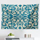 East Urban Home Ambesonne Chinese Tapestry, Far Eastern Scroll Pattern w/ Floral Curls Oriental Flourish in Blue/White/Black | Wayfair