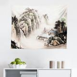 East Urban Home Ambesonne Vintage China Tapestry, Chinese Landscape Of Watercolor Painting Marquee In Valley Trees Sumi Style in Gray/White | Wayfair