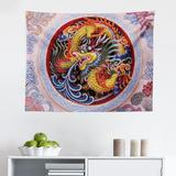 East Urban Home Ambesonne Dragon Tapestry, Chinese Horns Mane & Claws Flower Ornament Mythical Creature Monster in Red/Gray/Brown | Wayfair
