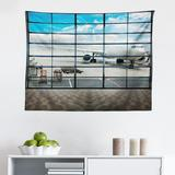 East Urban Home Ambesonne Modern Tapestry, China Shangai Airport w/ Big Jet Plane Wanderlust Traveller Photograph in Gray, Size 23.0 H x 28.0 W in