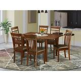 Winston Porter Agesilao Solid Wood Rubberwood Dining Set Wood/Upholstered Chairs in Brown, Size 30.0 H in | Wayfair