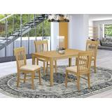 Winston Porter Alingtons Rubberwood Solid Wood Dining Set Wood/Upholstered Chairs in Brown, Size 29.0 H in | Wayfair