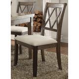 Lark Manor™ Krehbiel Side Chair set Of 2 Wood/Upholstered/Fabric in Brown, Size 39.0 H x 26.0 W x 22.0 D in   Wayfair