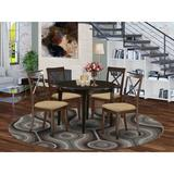 Gracie Oaks Adelma 5 - Piece Rubberwood Solid Wood Dining SetWood/Upholstered Chairs in Brown, Size 30.0 H x 42.0 W x 42.0 D in | Wayfair