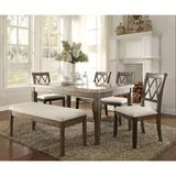 Lark Manor™ Krehbiel 6 Piece Dining Table Set Wood/Upholstered Chairs in Brown/White, Size 31.0 H x 38.0 W x 64.0 D in | Wayfair