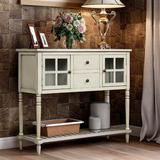 Darby Home Co Sideboard Console Table w/ Bottom Shelf, Farmhouse Wood/Glass Buffet Storage Cabinet Living Room in Gray | Wayfair