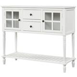 Darby Home Co Sideboard Console Table w/ Bottom Shelf, Farmhouse Wood/Glass Buffet Storage Cabinet Living Room in White | Wayfair
