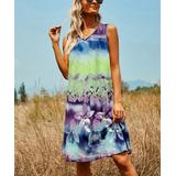 Floral Blooming Women's Casual Dresses Multicolor - Lime & Purple Floral V-Neck Sleeveless Dress - Women