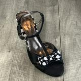 American Eagle Outfitters Shoes | American Eagle T-Strap Kitten Heeled Sandals | Color: Black/White | Size: 7