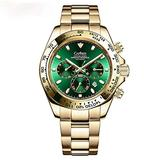 Skye Reker Men's Mechanical Watches, Men's Automatic Watches,Ceramics Daytona Multi-Function Watch Waterproof Wristwatch (Gold)
