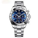 Skye Reker Men's Mechanical Watches, Men's Automatic Watches,Ceramics Daytona Multi-Function Watch Waterproof Wristwatch (Blue)