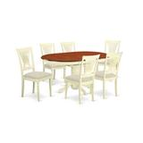 Alcott Hill® Emmaline Butterfly Leaf Rubberwood Solid Wood Dining Set Wood/Upholstered Chairs in Brown/White, Size 30.0 H in | Wayfair