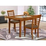 Winston Porter Agesilao Butterfly Leaf Rubberwood Solid Wood Dining Set Wood/Upholstered Chairs in Brown, Size 29.5 H in | Wayfair