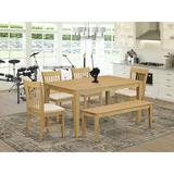 Winston Porter Alingtons Rubberwood Solid Wood Dining Set Wood/Upholstered Chairs in Brown, Size 30.0 H in   Wayfair