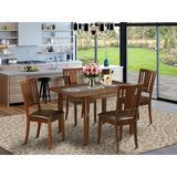 Winston Porter Agesilao 5 - Piece Butterfly Leaf Solid Wood Rubberwood Dining Set Wood/Upholstered Chairs in Brown, Size 30.0 H in | Wayfair