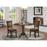 Charlton Home® Dufferin 3 - Piece Rubberwood Solid Wood Dining Set Wood/Upholstered Chairs in Brown, Size 29.0 H in   Wayfair