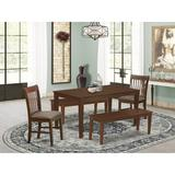 Winston Porter Alingtons Rubberwood Solid Wood Dining Set Wood/Upholstered Chairs in Brown, Size 30.0 H in | Wayfair