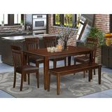 Winston Porter Alingtons 6 - Person Rubberwood Solid Wood Dining Set Wood/Upholstered Chairs in Brown, Size 30.0 H in | Wayfair
