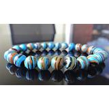 """Semi-Precious Gemstone Turquoise 8 mm Round Beads Smooth Beads with Stretch Bracelet 7"""" Bracelet for Women Men Girls Gifts (Unisex)"""